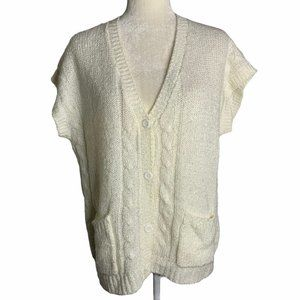 Vintage Short Sleeve Knit Cardigan Sweater 54PE